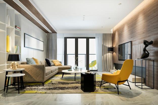 Rendering 3d di lusso e moderno salotto giallo con divano