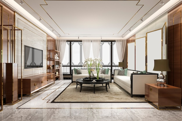 Rendering 3d di lusso e moderno soggiorno con decorazioni in stile cinese