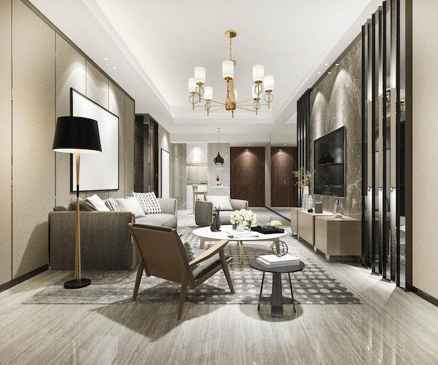Rendering 3d di lusso e moderno soggiorno con divano e tavolo da pranzo