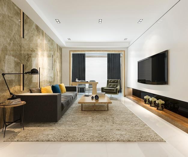 Rendering 3d di lusso e moderno soggiorno con divano in tessuto