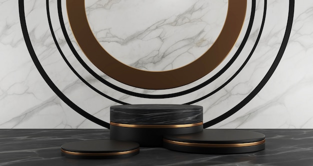 Rendering 3d di marmo nero e piedistallo dorato passi isolato su sfondo bianco, anello d'oro, astratto concetto minimo, spazio vuoto, minimalista di lusso