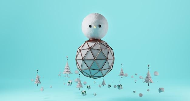 Rendering 3d di natale. pupazzo di neve gigante galleggiante su sfondo blu. circondato dagli alberi di natale e dai contenitori di regalo, concetto minimo astratto, minimalista di lusso