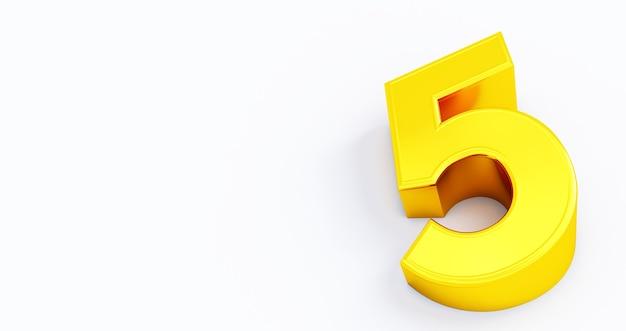 Rendering 3d di oro numero 5 cinque isolati sfondo bianco