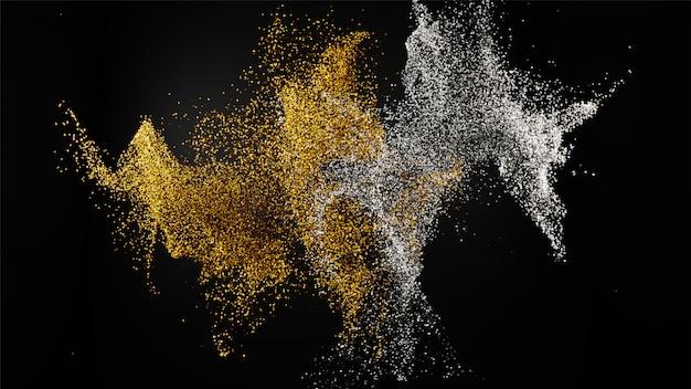 Rendering 3d di particelle di polvere glitter dorato e argento misto su bl