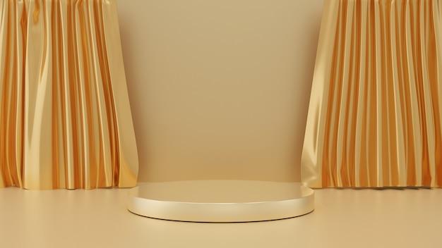 Rendering 3d di passi piedistallo d'oro con tenda su sfondo oro, fase cerchio dorato, concetto minimo astratto, spazio vuoto, design semplice e pulito, modello minimalista di lusso