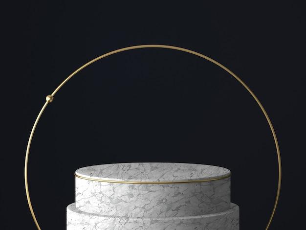 Rendering 3d di piedistallo bianco e oro isolato su parete nera, cornice rotonda in oro, lavagna commemorativa, gradini del cilindro, concetto minimo astratto, spazio vuoto, design pulito, minimalista di lusso