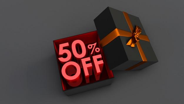Rendering 3d di rosso 50 per cento di sconto, offerta speciale