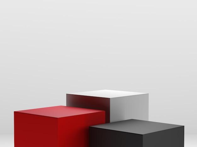 Rendering 3d di rosso, bianco e nero, podio di forme geometriche in stile minimal design a diversi livelli per esposizione o vetrina.