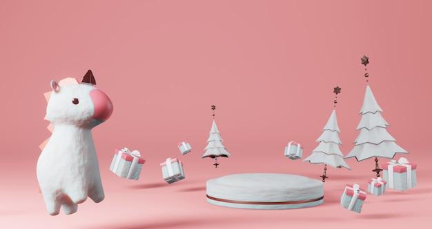 Rendering 3d di san valentino. piedistallo di neve circondato da alberi di natale, scatole regalo e unicorno, minimalista. simbolo di amore. rendering 3d moderno.