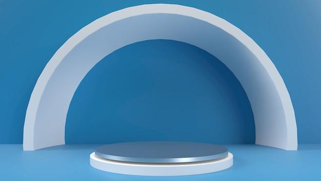 Rendering 3d di sfondo geometrico astratto, scena, podio, palcoscenico e display. colore blu e bianco.