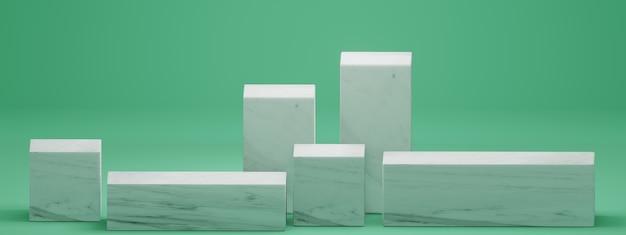 Rendering 3d di sfondo minimo, mock up scena con forma geometrica del podio per la visualizzazione del prodotto su sfondo verde.