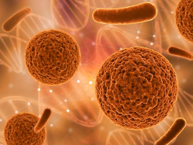 Rendering 3d di un background medico con varie cellule di virus