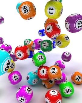 Rendering 3d di un insieme di sfere di bingo colouored