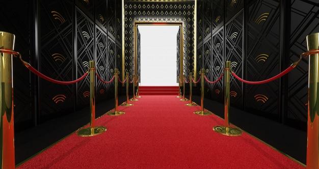 Rendering 3d di un lungo tappeto rosso tra le barriere di corda con scala alla fine