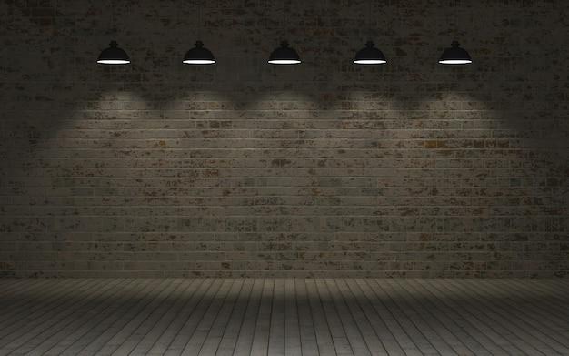 Rendering 3d di un muro di mattoni a vista