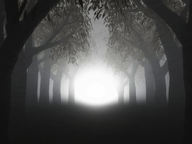 Rendering 3d di un paesaggio di una foresta nebbiosa