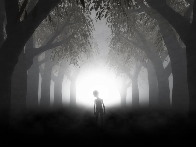 Rendering 3d di un paesaggio spettrale con alieno nella foresta nebbiosa
