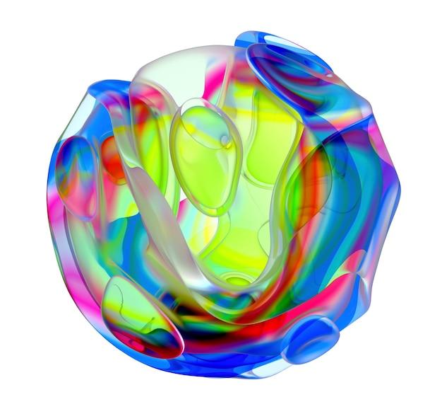 Rendering 3d di un pezzo di arte astratta di scultura in vetro con fiore alieno surreale in curva organica tondo ondulato liscio