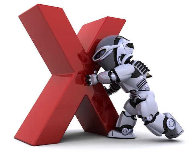 Rendering 3d di un robot con un simbolo