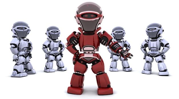 Rendering 3d di un robot rosso che guida una squadra