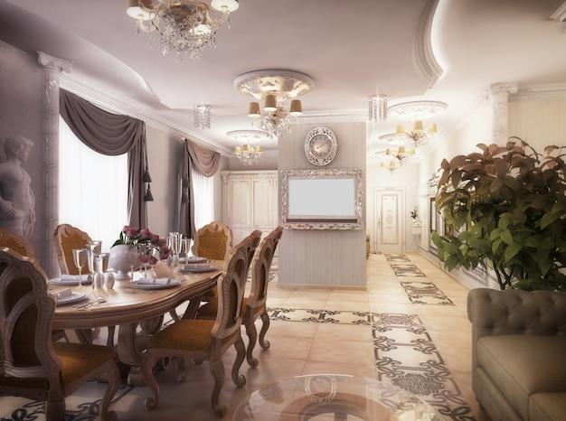 Rendering 3d di un salotto, un corridoio e una cucina in stile classico