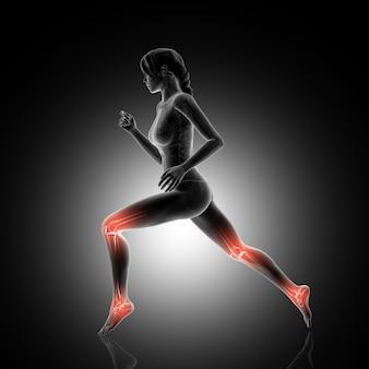 Rendering 3d di una figura femminile che fa jogging con le articolazioni del ginocchio e della caviglia evidenziato