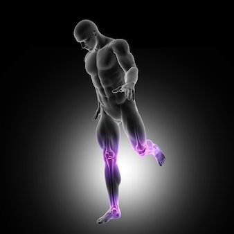 Rendering 3d di una figura maschile che corre con le articolazioni delle gambe evidenziate