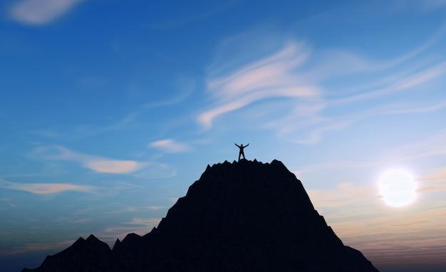 Rendering 3d di una figura maschile in cima a una montagna che tiene le braccia in su nel successo