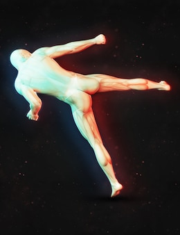 Rendering 3d di una figura maschile in una posa di kick boxing con effetto a doppio colore