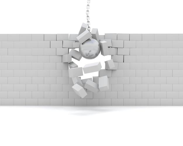 Rendering 3d di una sfera di rovina che demolisce un muro