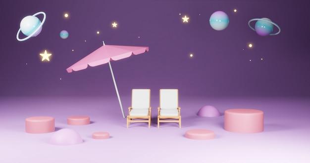 Rendering 3d, due sedie a sdraio e ombrellone nello spazio