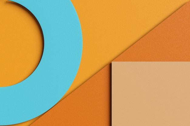 Rendering 3d elegante sfondo astratto business di semplici forme geometriche. strato di immagine piatta trama della carta marrone, giallo, arancione, crema e colore blu