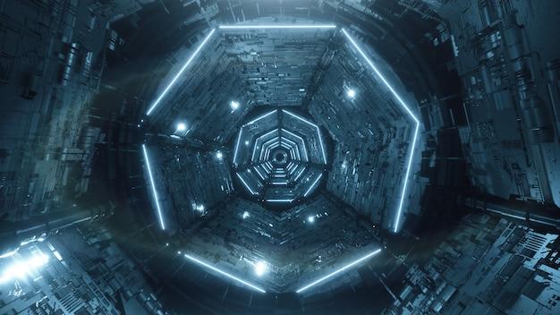 Rendering 3d estratto futuristico digitale tunnel al neon