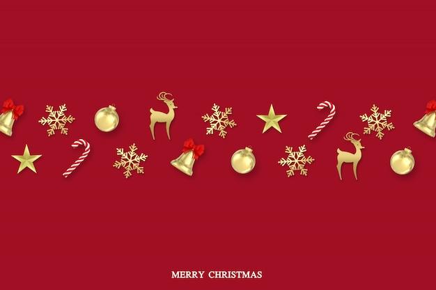 Rendering 3d fiocchi di neve di superficie di natale, caramelle, campane, palla di natale e decorazioni in oro sulla superficie rossa con testo buon natale