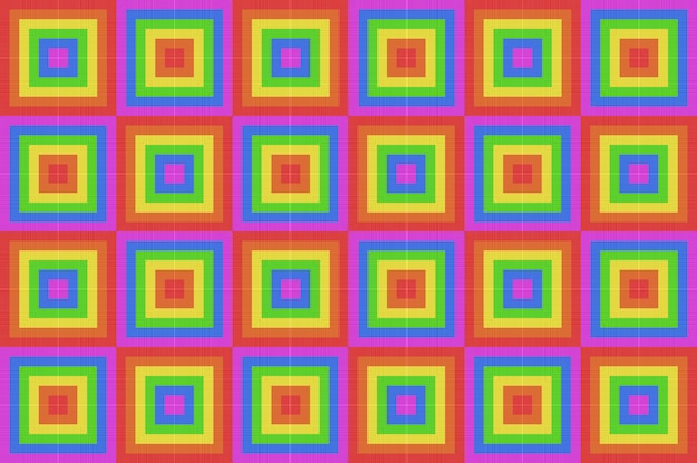 Rendering 3d. fondo di parete delle mattonelle di arte del modello di forma quadrata di progettazione di colore dell'arcobaleno di lgbt dell'annata.