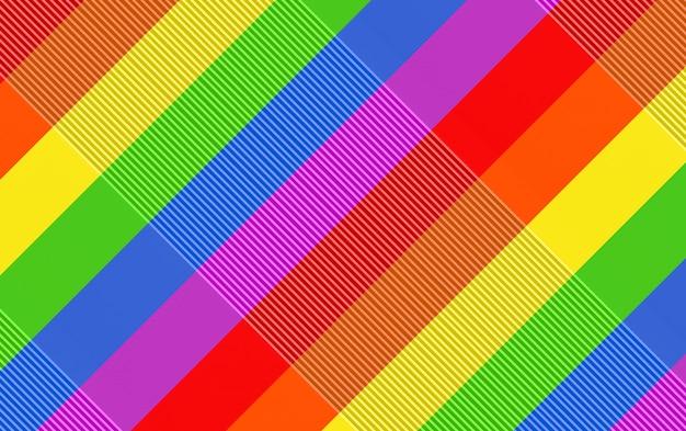 Rendering 3d. fondo diagonale moderno della parete di progettazione della bandiera di colore dell'arcobaleno di lgbt.