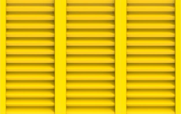 Rendering 3d. fondo giallo moderno della parete della porta della finestra del pannello.
