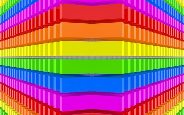 Rendering 3d. fondo moderno di arte della parete di progettazione del blocchetto di colore di colore dell'arcobaleno di lgbt di vibrazione.