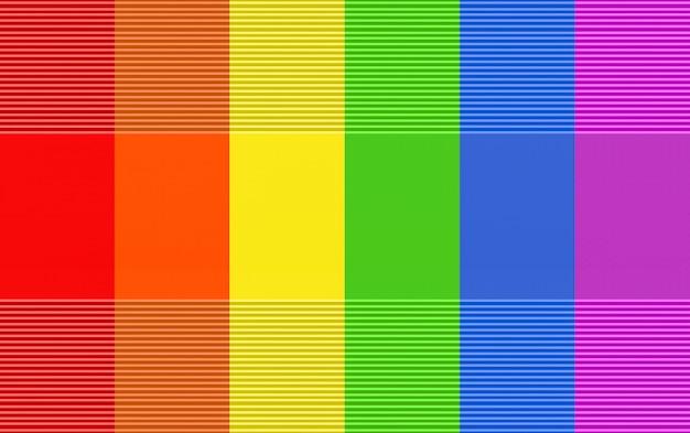 Rendering 3d. fondo moderno di progettazione della parete della bandiera di colore dell'arcobaleno di lgbt.