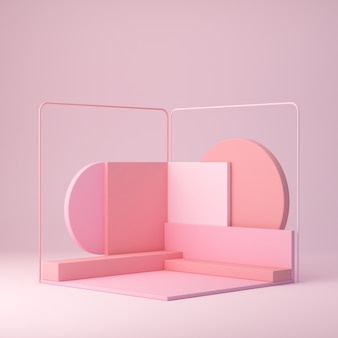Rendering 3d, forme di tendenza, sfondo geometrico astratto, podio minimale