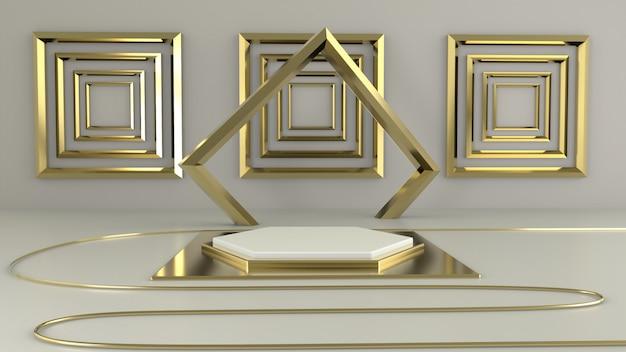Rendering 3d geometria del podio bianco con elementi in oro. podio vuoto astratto forma geometrica.