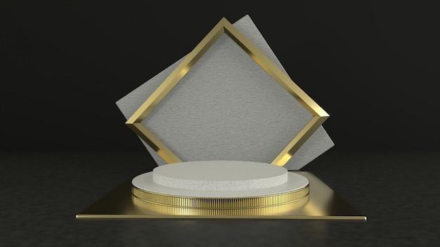 Rendering 3d geometria del podio nero con elementi in oro. podio vuoto astratto forma geometrica.