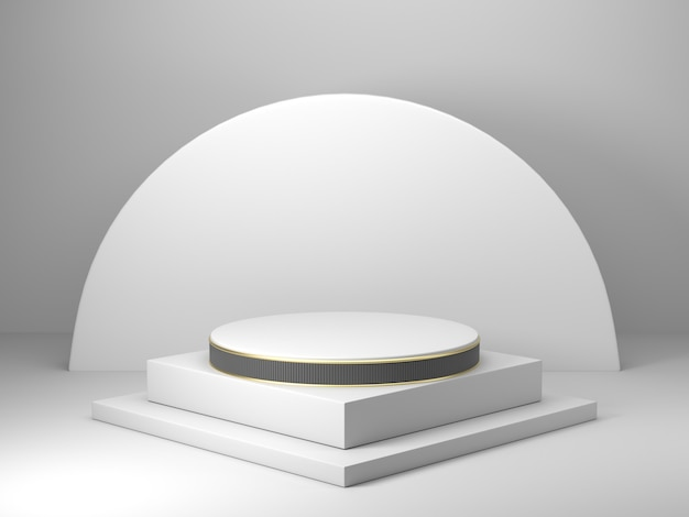 Rendering 3d, geometrico astratto, podio a cilindro, forme primitive minimaliste, modello moderno, modello in bianco, griglia in metallo dorato, maglia, vetrina vuota, esposizione del negozio
