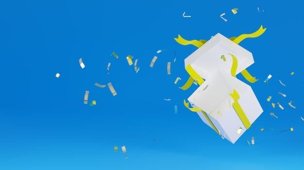 Rendering 3d giftbox bianco con nastro giallo esplodere sul blu