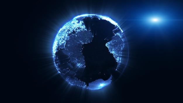 Rendering 3d, globo terrestre della particella che gira e bagliore fascio di luce splendente, tecnologia di grandi quantità di dati, affari e concetto di comunicazioni.