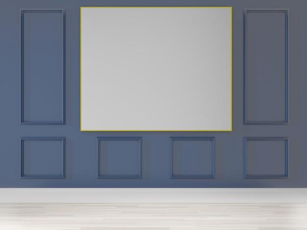 Rendering 3d grande sala. design interno, stile art deco, parete blu per