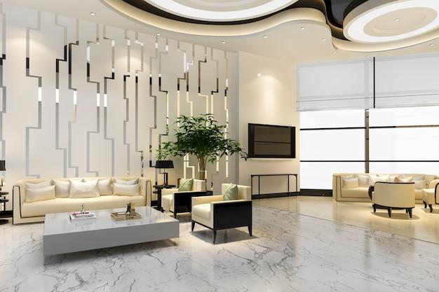 Rendering 3d hotel di lusso e ufficio reception hall e sala ristorante