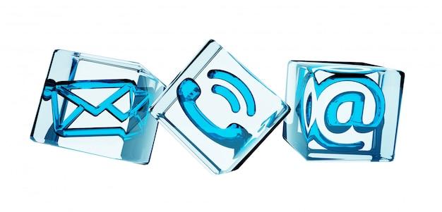 Rendering 3d icona contatto trasparente cubo