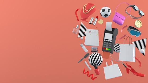 Rendering 3d, illustrazione 3d negozio online, borse per la spesa, portafoglio, banche e monete in mezzo a palline colorate