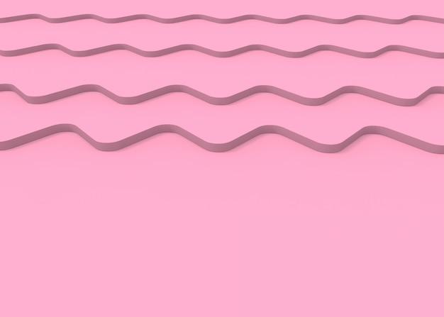 Rendering 3d. la curva di onda del ricciolo rosa molle dolce increspa il fondo.